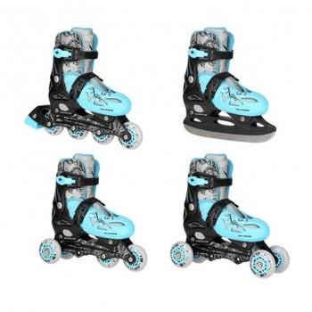 Αυξομειούμενα Πατίνια Roller INLINE/ICE-SKATES NILS EXTREME NH0320A 4 ΣΕ 1 Μπλε - SMALL (31-34)