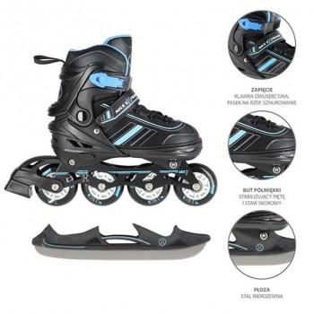 Αυξομειούμενα Roller NH18191 2 ΣΕ 1 Μαύρο/Μπλε Medium(34-38) IN-LINE SKATES/HOCKEY ICE SKATES