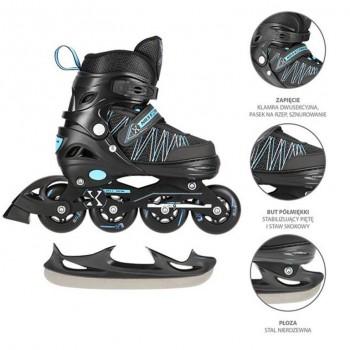 Αυξομειούμενα Roller NH11912 A 2σε1 Μαύρο/Μπλε Large (39-42) IN-LINE SKATES/HOCKEY ICE SKATES