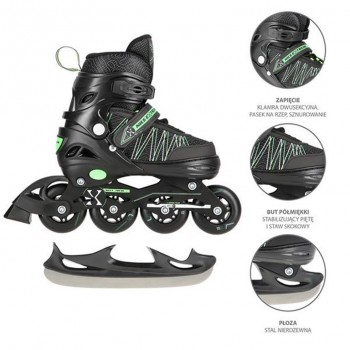 Αυξομειούμενα Roller NH11912 A 2σε1 Μαύρο/Πράσινο Large (39-42) IN-LINE SKATES/HOCKEY ICE SKATES