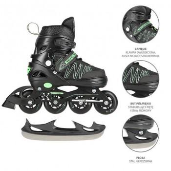 Αυξομειούμενα Roller NH11912 A 2σε1 Μαύρο/Πράσινο Small(31-34) IN-LINE SKATES/HOCKEY ICE SKATES