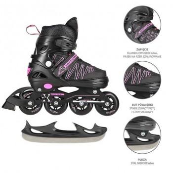 Αυξομειούμενα Roller NH11912 A 2σε1 Μαύρο/Ροζ Large (39-42) IN-LINE SKATES/HOCKEY ICE SKATES
