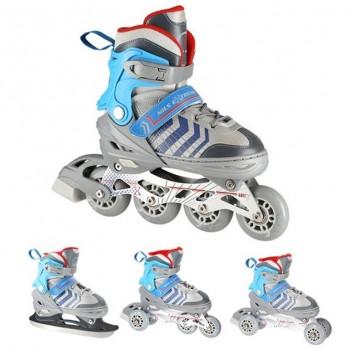 Αυξομειούμενα Roller NH18192 A 4σε1 Γκρι/Μπλε Small(29-33) IN-LINE SKATES/HOCKEY ICE SKATES
