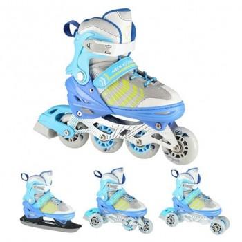 Αυξομειούμενα Roller NH18192 A 4σε1 Μπλε Small(29-33) IN-LINE SKATES/HOCKEY ICE SKATES
